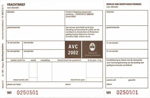 VRACHTBRIEVEN BUDGET BVA1001 190X120MM 3VOUD 1 Stuk