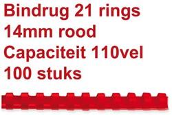BINDRUG GBC 14MM 21RINGS A4 ROOD 100 STUK