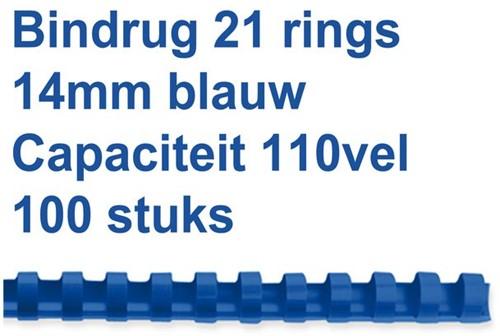 BINDRUG GBC 14MM 21RINGS A4 BLAUW 4028238 100 STUK