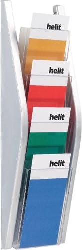 FOLDERHOUDER HELIT WAND 4 X 1/3 A4 ZILVER 1 STUK
