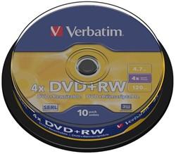 DVD+RW VERBATIM 4.7GB 4X 10PK SPINDEL 10 STUK