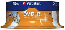 DVD-R VERBATIM 4.7GB 16X PRINTABLE 25PK SPINDEL 25 STUK