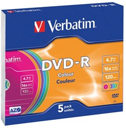 DVD-R VERBATIM 4.7GB 16X COLOUR 5PK SLIMLINE JC 5 STUK