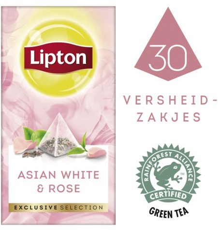 THEE LIPTON EXCLUSIVE AZIATISCH WIT+ROZENBLAADJES 30 STUK
