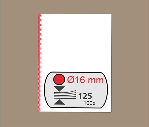 BINDRUG GBC 16MM 21RINGS A4 ROOD 100 STUK